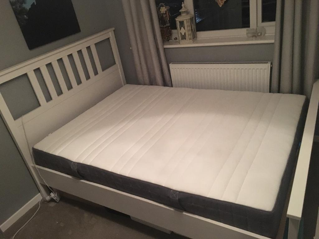 Ikea Hemnes Bed Frame With Slates Standard Double White