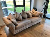 Sofology Somerset 4 Seater Pillow Back Sofa In Rita Mix Gold