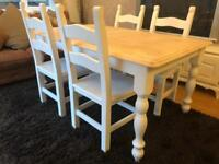 REDUCED - 5ft Shabby Chic Chunky Farmhouse Oak Table and 4 Chairs