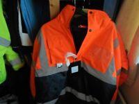 size large orange/navy bomber jacket