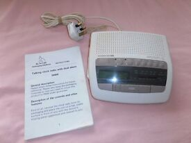 An AUDIOLINE TC1. Talking Clock / Radio with duel ALARM ,