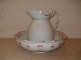 Vintage ceramic wash basin and jug