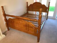 King Size Solid Wooden Bed with beautiful detailing - As New