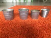 4 metal plant pots various size garden/balcony or inside