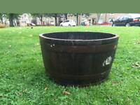 Half Solid Oak Wine Whisky Barrel Planters Garden Patio Lawn Tub Flower Pot Pond
