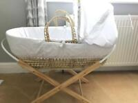 Moses basket, stand and 2 mattresses
