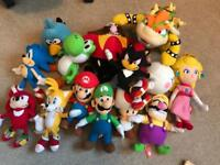 Large selection of super mario & sonic cuddlys