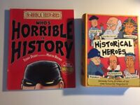 2 'Horrible History' books: 'Historical Heroes' and 'Who's Horrible In History'