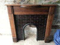Solid wood fire surround, including tile surround, grate and accessories