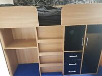Cabin bed with desk, drawers & wardrobe