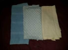 3 baby blankets.fits pram/moses/crib