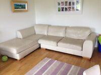 "Leather sofa- M & S. Cream. Corner sofa splits in 2 so easily transported. Dimensions 112"" x 80"""