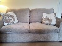 Beige sofa with 2 cushions - seats up to 3
