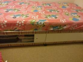 Single bed and mattress with storage