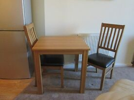 """Solid Oak Dining Chairs (2), """"As new"""" and now HALF PRICE!"""