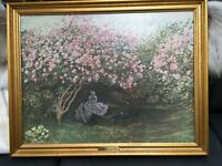 "Framed Oil on Canvas Replica of ""Resting under the Lilac"" by Claude Monet"