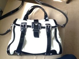 Karen Millen White & Black Leather Satchel Bag Patent
