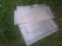 JOBLOT OF 5 DIFFERENT SIZED PLASTIC SHEETS POLYCARBONATE PERSPEX 5MM THICK, 2FT X 2.5FT,SHED WINDOW