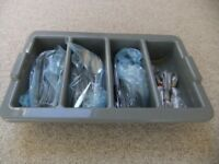 STAINLESS STEEL CUTLERY X 50 PLACE SETTINGS IN TRAY - USED ONCE