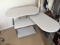 White extendable desk