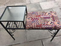 Retro Telephone Seat , with metal frame and glass topped side table, in good condition.
