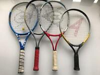 4 Assorted Used Children's Tennis Rackets