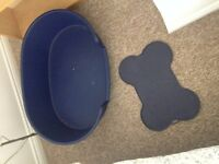 large dog bed & large non slip dog bowl mat, both blue