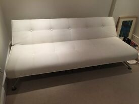 White Faux Leather Sofa bed Contemporary Design