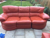 Red/Orange Leather Sofa with Snuggler and large footstool