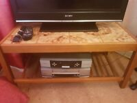 Wooden tv stand with VCR and Sky box