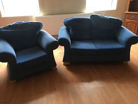 FABRIC SOFA SET IN BLUE 2 Seater + Armchair