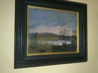 ORIGINAL SIGNED LANDSCAPE PAINTING by Irish artist BERNARD REYNOLDS. Bog Pool in Early Winter