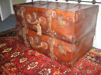 superb vintage leather suitcases. matching pair in excellent condition
