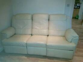 **SOLD PENDING PMT**2 x Cream Leather reclining sofas