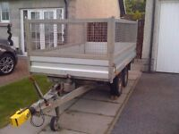 Humbaur Car Trailer (Twin Axle, Tipper) c/w Extension Mesh Sides and Hitch Lock