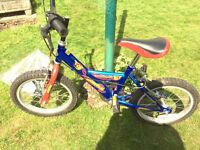 Boys Raleigh Triumph Blue/Red Bike suit age 4-7 approx can include stabilisers