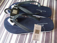 Ladies Flip Flops Size 6-7 Navy & White Marks & Spencers New With Tags