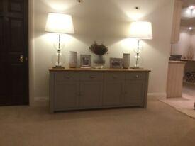 Beautiful 4 door, 4 drawer solid oak and grey sideboard