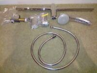 Shower Head and riser rail, & Chrome shower hose.