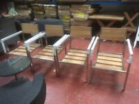 4 STAINLESS STEAL AND OAK GARDEN CHAIRS