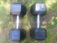 Rubber Hex Dumbbells 2 x 20Kg (1 Pair) Total weight 40kg.
