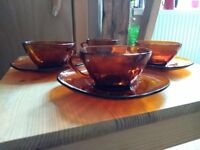 Vintage French cups and saucers x 4