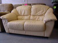 Cream Leather 2 Seater Sofa Settee