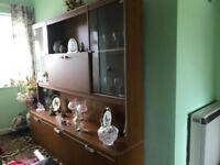 5ft long display cabinet - solid wood, immaculate condition