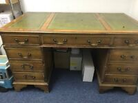 Reproduction Antique Style Leather Top Desk & Captain's chair, in tired & used condition