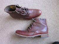 Mens Brown Leather Caterpillar Warren Boots, Size 11