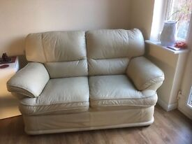 Cream Two Seater Leather Sofa