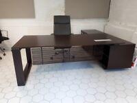 Italian Dark Wood Veneer Executive Desk