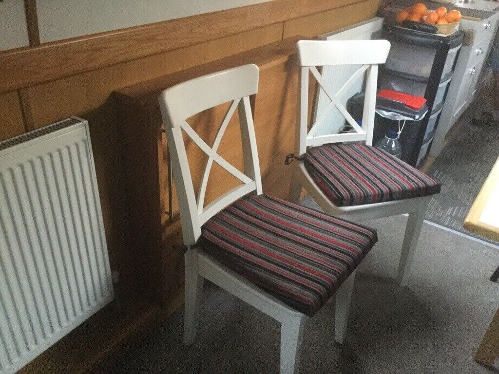 premium selection 3d4c4 2298b 2 wooden dining chairs. IKEA. OFF-white INGOLF design. | in Quorn,  Leicestershire | Gumtree