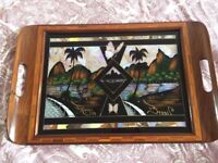 Vintage R Benedictionos Astra serving tray inlaid with real butter fly wings